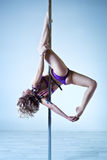 Pole dance woman Royalty Free Stock Image