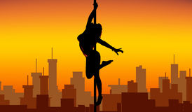 Pole dance women silhouette Royalty Free Stock Photo