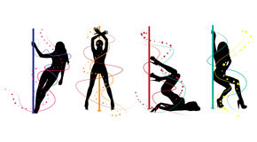 Pole dance women silhouettes Royalty Free Stock Photos