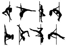 Pole dance women silhouettes Stock Images
