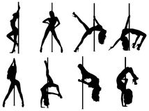 Pole dance women silhouettes Royalty Free Stock Image