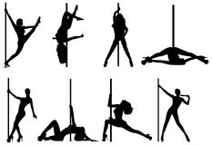 Pole dance women silhouettes Royalty Free Stock Photo