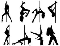 Pole dance women silhouettes Stock Photo