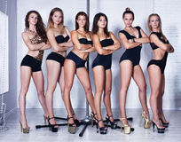 Pole dance women team Stock Photos