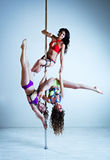 Pole dance women Royalty Free Stock Photos