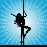 Pole dancer. Silhouette of a sexy pole dancer Stock Photos