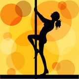 Pole dancer. Illustration of a pole dance with retro style background Royalty Free Stock Photo