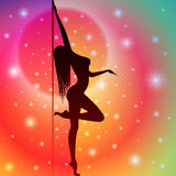 Pole Dancer. Sexy Pole Dancer with Star Background Royalty Free Stock Photo