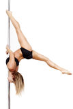 Pole dancer practice Royalty Free Stock Image