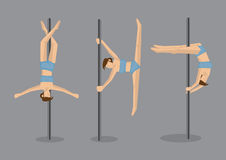 Pole Dancers Performing Gravity Defying Stunts Royalty Free Stock Photos