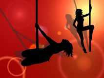 Pole Dancing. Silhouettes of two women pole dancing, with shadows of figures visible.  Abstract orange, red and yellow background Stock Photos