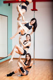 Pole dancing is fun! Royalty Free Stock Photography
