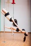 Pole dansare som tillsammans utarbetar Royaltyfri Bild