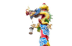 Pole dragon in Chinese temple. Dragon isolate on white background Stock Image