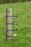 Pole with electric fence. In four lines Royalty Free Stock Photography