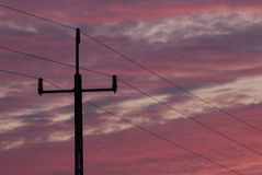 Pole Electric Sunset Cables Stock Photo