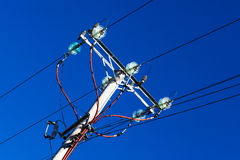 Pole with electrical wires Royalty Free Stock Photos