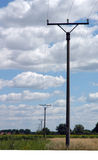 Pole of electricity. Power line stock photos