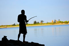 Pole fishing Royalty Free Stock Images
