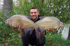 Pole fishing. big bream royalty free stock images
