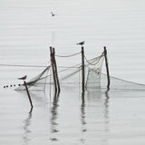 Pole fishing net Royalty Free Stock Photos