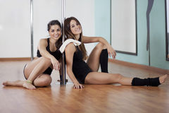 Pole fitness students on a break Stock Photography