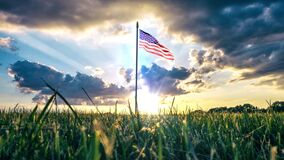 Cinemagraph American Flag and big Lawn 4K