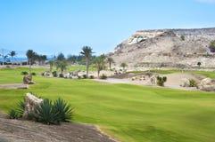 Pole golfowe farwater przy tropikalnym kurortem Obrazy Royalty Free