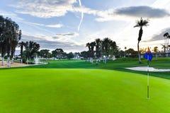 Pole golfowe zieleń z chorągwianym kijem Fotografia Royalty Free