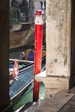 Pole for the gondola in Venice Stock Photo