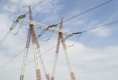 Pole for high voltage electrical energy distribution Stock Photo