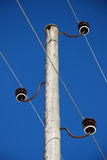 Old wooden electricity pole. A pole of high voltage transmission line royalty free stock photography
