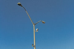 Pole. A hydro pole against a blue sky Royalty Free Stock Images
