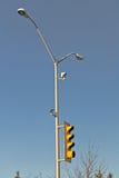 Pole. A hydro pole against a blue sky Stock Images