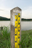 Pole measuring water levels in Storage Dam Stock Image