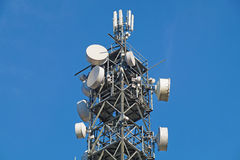 Pole for mobile antenna. Telecomunications stock photo