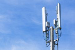 Pole mobile internet wifi with blue sky Stock Images