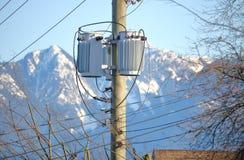 Pole-mounted Distribution Transformer Stock Photo