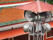 Pole mounted megaphone in urban areas Stock Photo