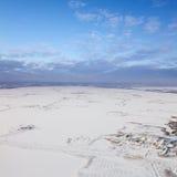 Pole naftowe na Samotlor jeziorze w zimie, odgórny widok fotografia royalty free