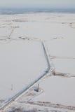 Pole naftowe na Samotlor jeziorze w zimie, odgórny widok obraz royalty free