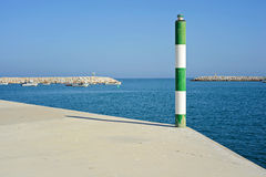 Pole on the pier Royalty Free Stock Image
