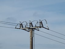 Pole power lines. South Bohemia Stock Image