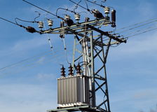 Pole power lines. South Bohemia Royalty Free Stock Photo