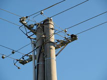Pole power lines. South Bohemia Stock Images