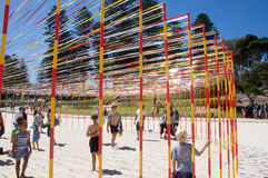 Pole and Ribbon Interactive Sculpture: Cottesloe Beach Royalty Free Stock Images