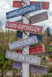 A pole with road indication stock images