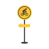 Pole with road sign with ride bike symbol Royalty Free Stock Photo