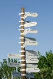 Pole sign. The post direction sign in Turkey Stock Photos