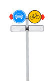 Pole signs bike lane and car lane isolated Stock Photo